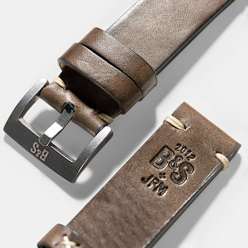 Smokeyjack Grey Square Leather Watch Strap