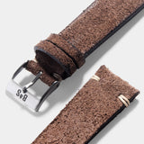 Dark Brown Rugged Leather Watch Strap