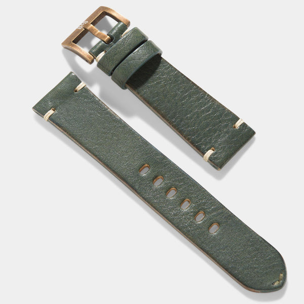 Bronze Perfect Match Vintage Green Leather Watch Strap