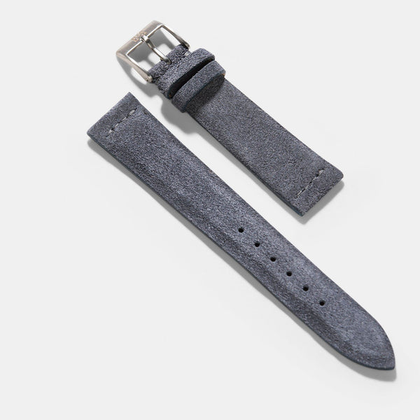Dark Grey Silky Suede Leather Watch Strap