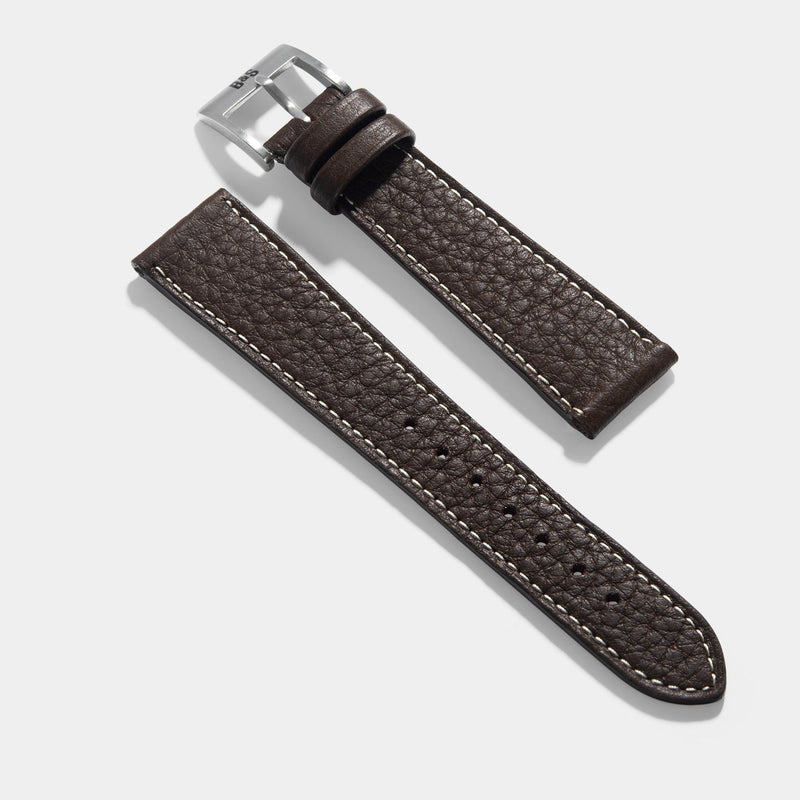 Taurillon Ebene Brown Leather Watch Strap