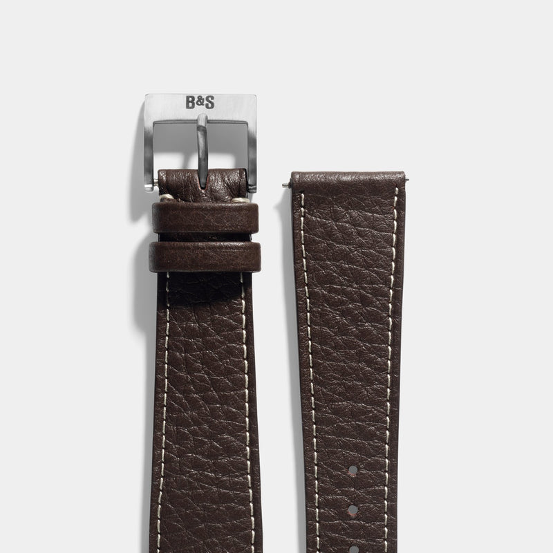 Taurillon Ebene Brown Leather Watch Strap Change It