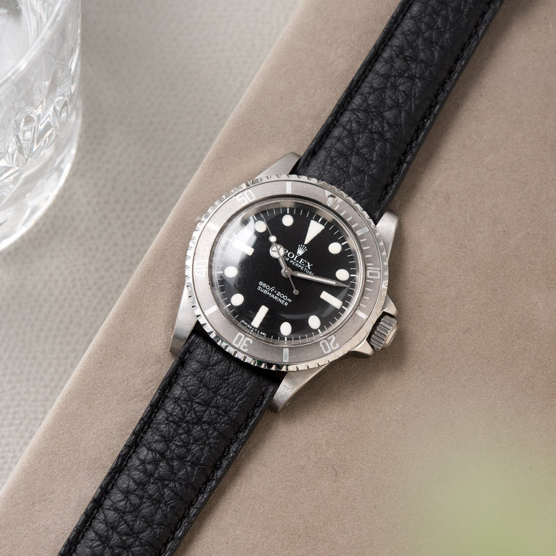 Taurillon Black Leather Watch Strap