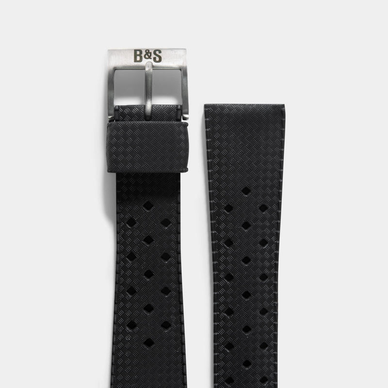 Nautic Basket Weave Black Rubber Style Watch Strap