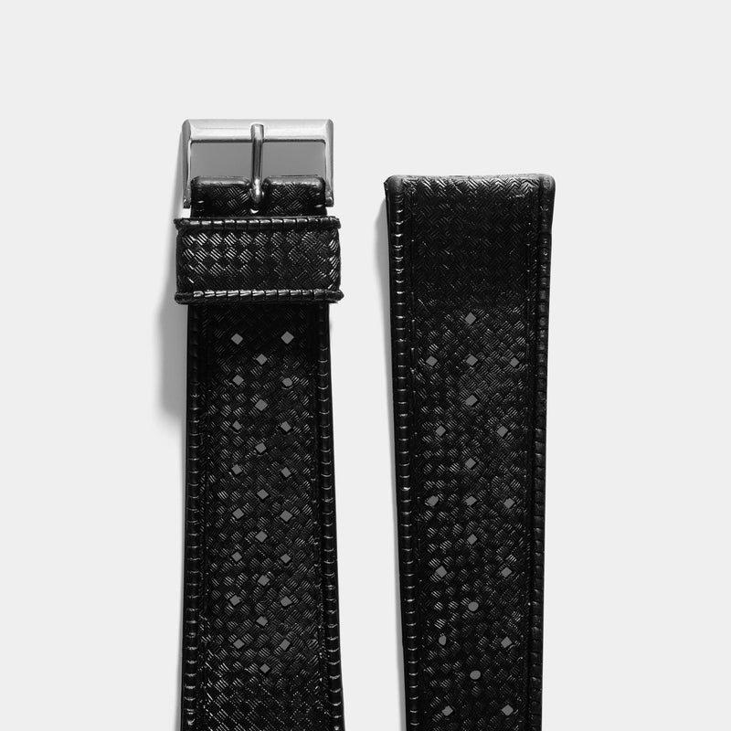 Vintage NOS Swiss Tropic Basket Weave Black Rubber Watch Strap