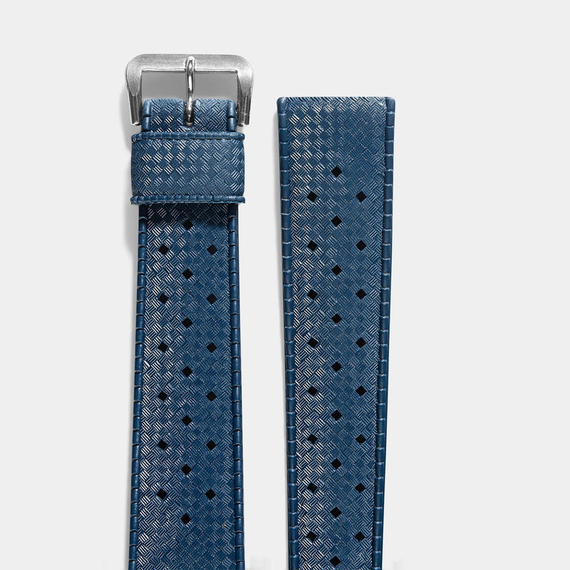 Vintage NOS Swiss Tropic Basket Weave Blue Rubber Watch Strap