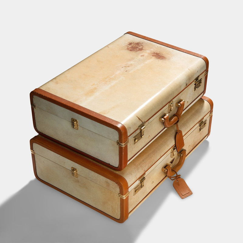 Vintage Pair of Prada Pergamena Hard Suitcases