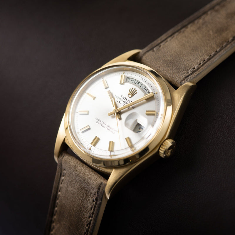 Rolex Day-Date Yellow Gold Wide Boy Dial 1802 on a Bulang and Sons Watch Strap