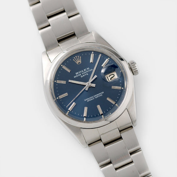 Rolex OP Date Reference 1500 Blue Dial with 34mm steel case