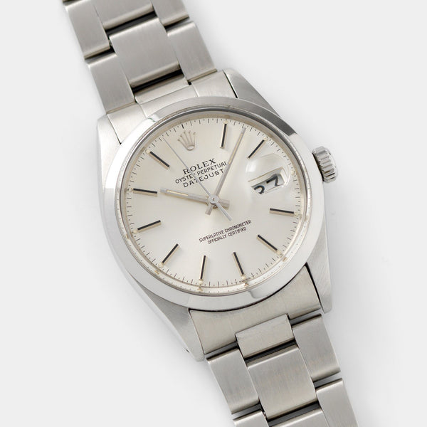 Rolex Datejust Reference 16000 Silver Soleil Dial with Smooth bezel