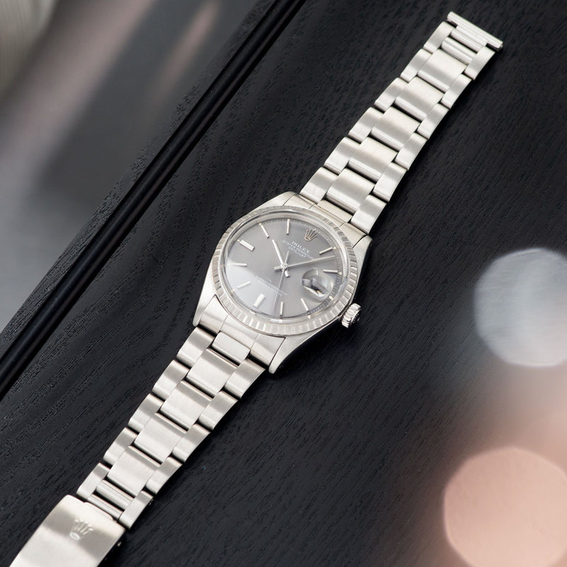 Rolex Datejust 1603 Grey Pie Pan Dial with Oyster bracelet
