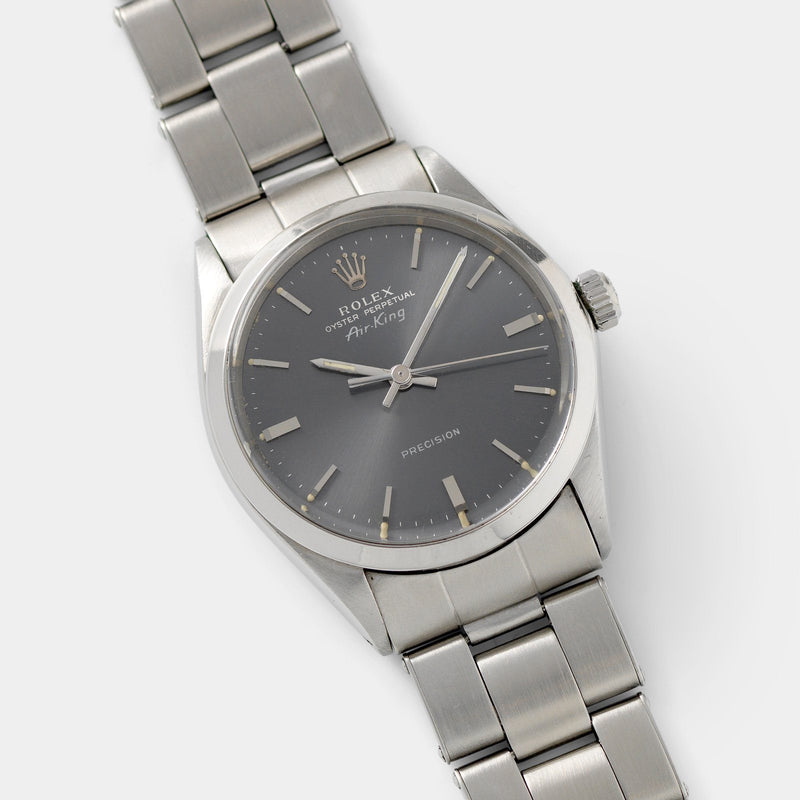 Rolex Air King Ref 5500 Grey Soleil Dial 34mm steel case