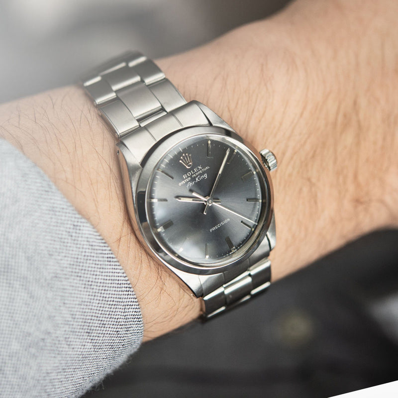 Rolex Air King Ref 5500 Grey Soleil Dial wrist shot on Oyster bracelet