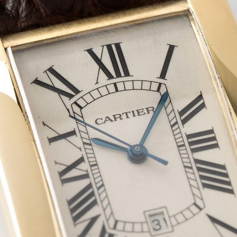 Cartier Tank Americaine Jumbo Yelow Gold ref 1740 with Blue steeled hands