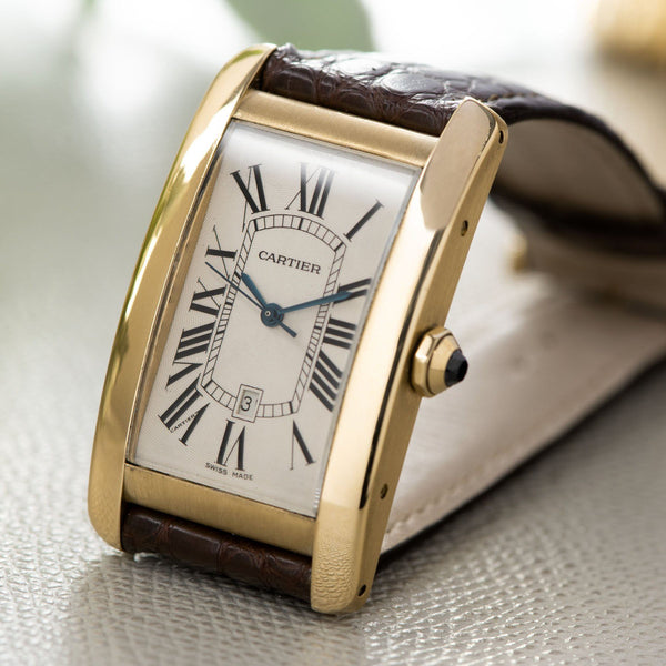 Cartier Tank Americaine Jumbo Yelow Gold ref 1740 with Eggshell dial