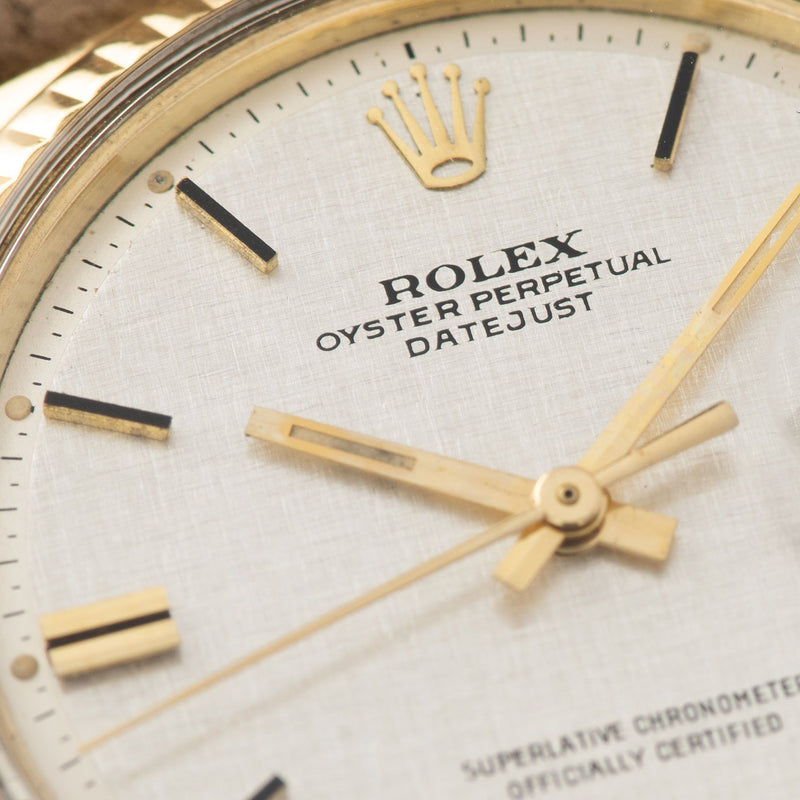 Rolex Datejust Yellow Gold 1601 Linen Dial with black-topped hour markers