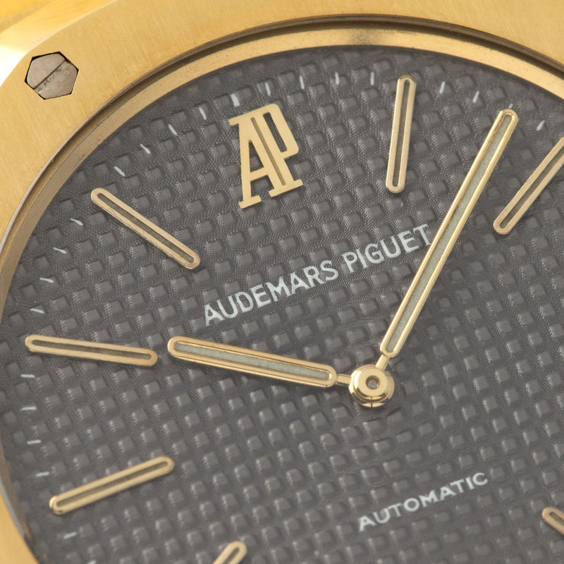 Audemars Piguet Jumbo Royal Oak Yellow Gold 5402 Box and Papers with grey petit tapisserie dial