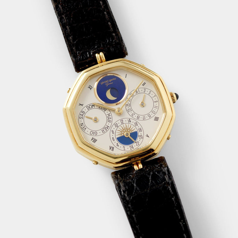 "Gerald Genta ""Succes ""Day Date Moon Phase Ref 2747 with 24-hour indicator"