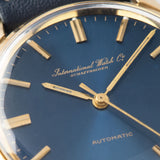 IWC Yellow Gold Dress Watch Blue Soleil Dial with applied hour markers and lume dots