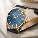 IWC Yellow Gold Dress Watch Blue Soleil Dial