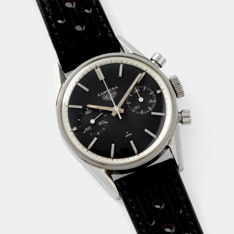 Heuer Carrera Ref 3647 Black Dial Silver Print with facted lugs