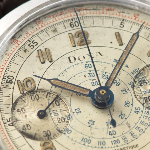 Doxa Multi Scale Steel Spillman Case Chronograph with Blued steel radium-filled syringe hands