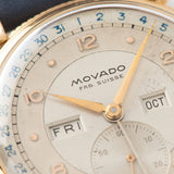 Movado Triple Calendar Pink Gold Dress Watch  with blue date track