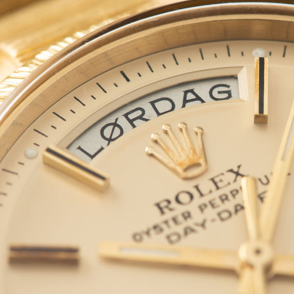 Rolex Day-Date Champagne Dial Yellow Gold 1807 with  Rare Norwegian day disc