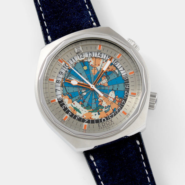 Edox Geoscope World Timer 1970s with 42mm case