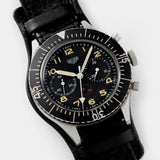 Heuer Chronograph German Issued Flyback Chrono 1550SG with rotating black bezel