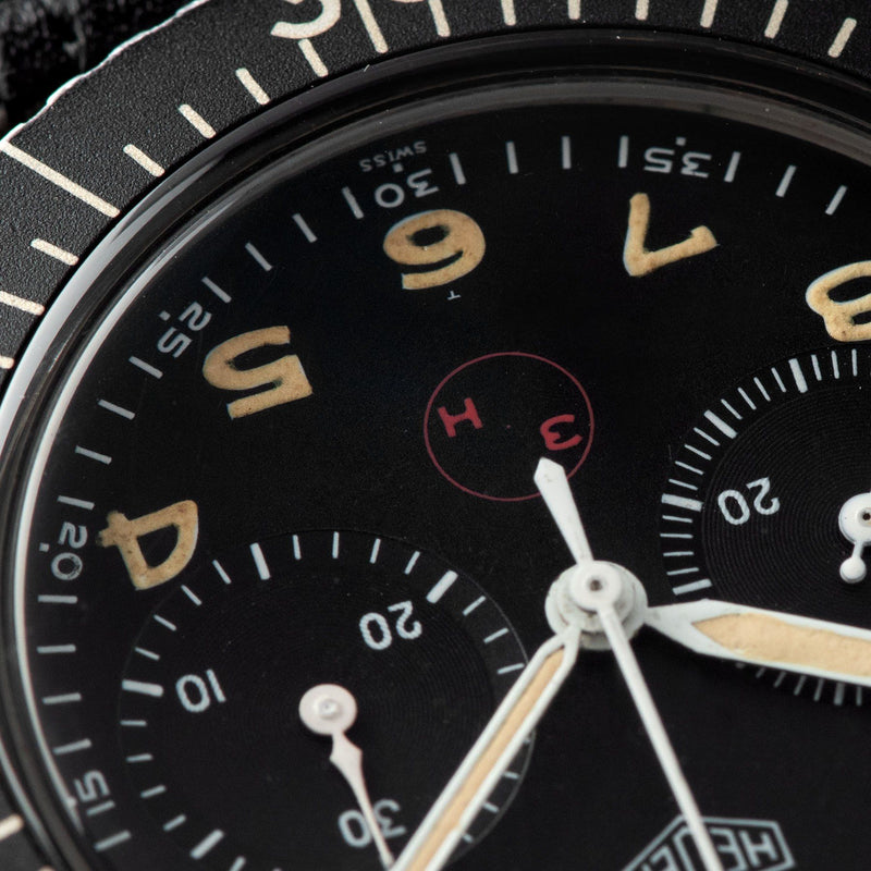 Heuer Chronograph German Issued Flyback Chrono 1550SG with Tritium (3H) bold arabic hour markers