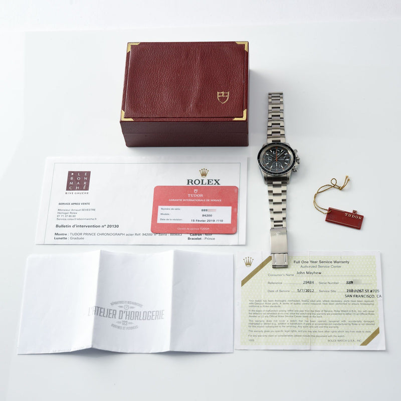 Tudor Oysterdate Chronograph Monte Carlo Big Block 94200 with Box, hang tag and numerous service papers