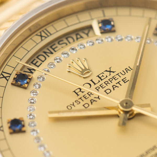 Rolex Day-Date Reference 18038 Blue Sapphire String Dial with diamonds and sapphire hours