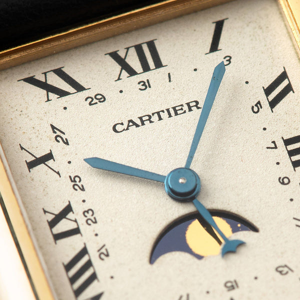 Cartier Tank with Moon Phase 18kt Yellow Gold with Blued steel hands