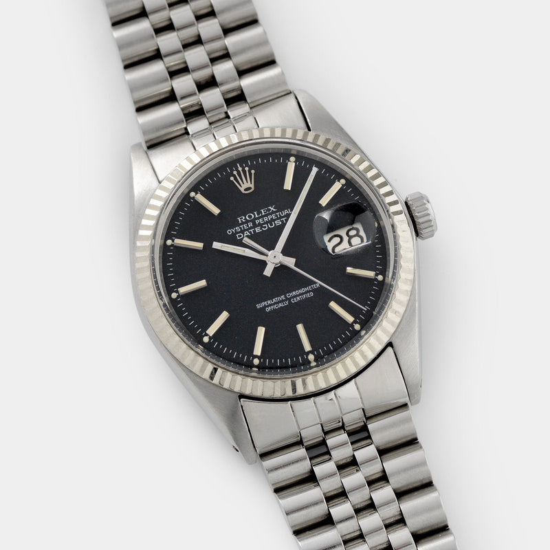 Rolex Datejust Reference Black Marble Dial 1601 with White gold fluted bezel