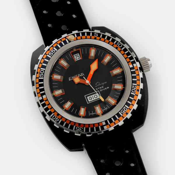 Enicar Sherpa Star Diver 147-05-02 black PVD coated steel case