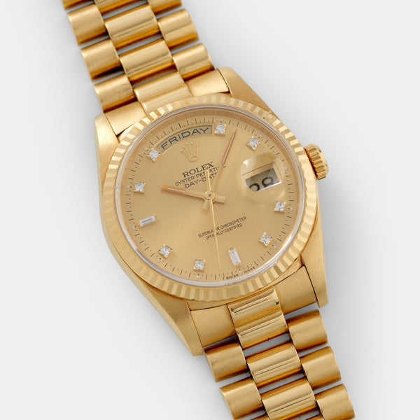 Rolex Day-Date Champagne Dial Diamond Hours 18238 with 36mm yellow gold case