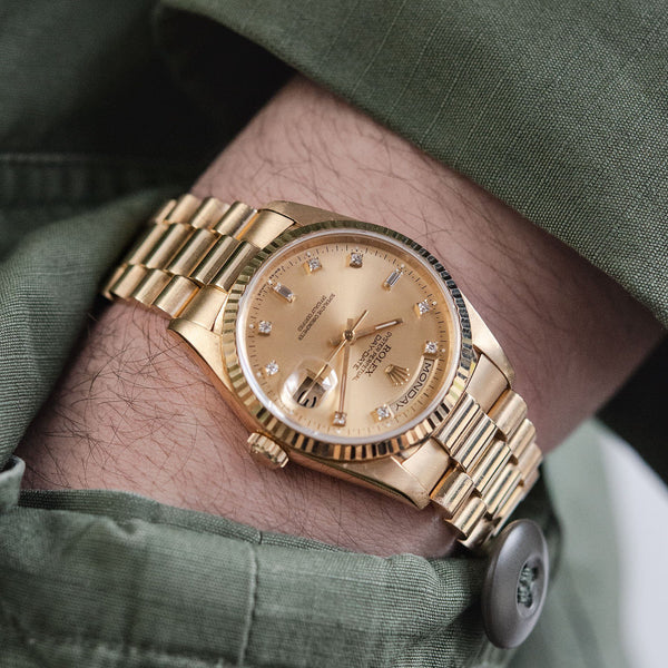 Rolex Day-Date Champagne Dial Diamond Hours 18238