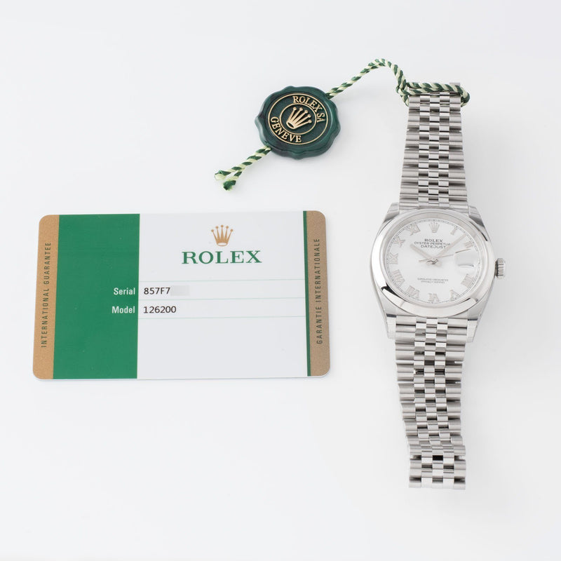 Rolex Datejust White Dial 126200 with Original warranty card and hang tags