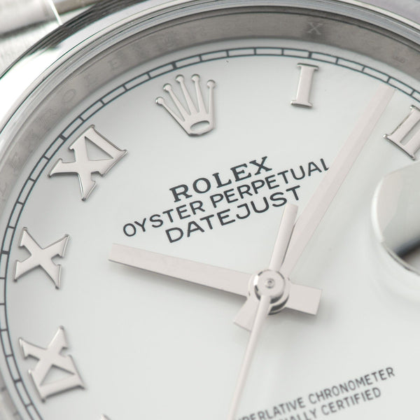 Rolex Datejust White Dial 126200 with applied Roman numerals