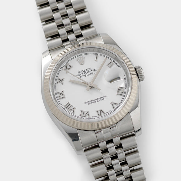 Rolex Datejust White Dial 116234 2014 with White gold fluted bezel