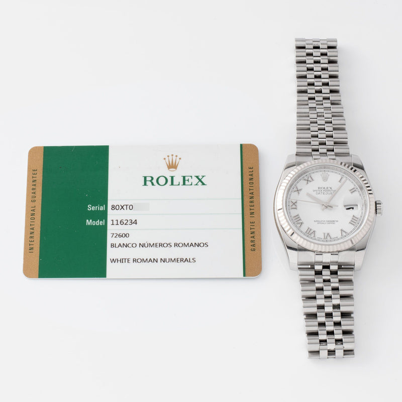 Rolex Datejust White Dial 116234 2014 with Original warranty card