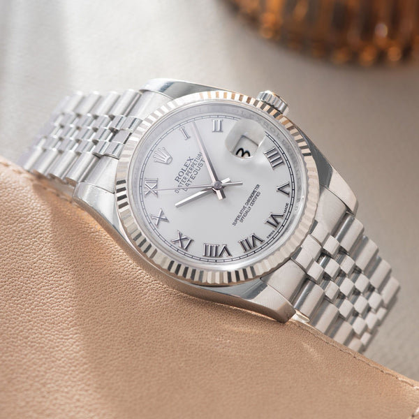 Rolex Datejust White Dial 116234 2014 with polish-finished lugs