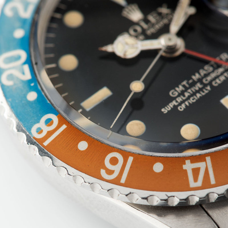 Rolex 1675 Gilt Dial GMT Master pepsi inlay