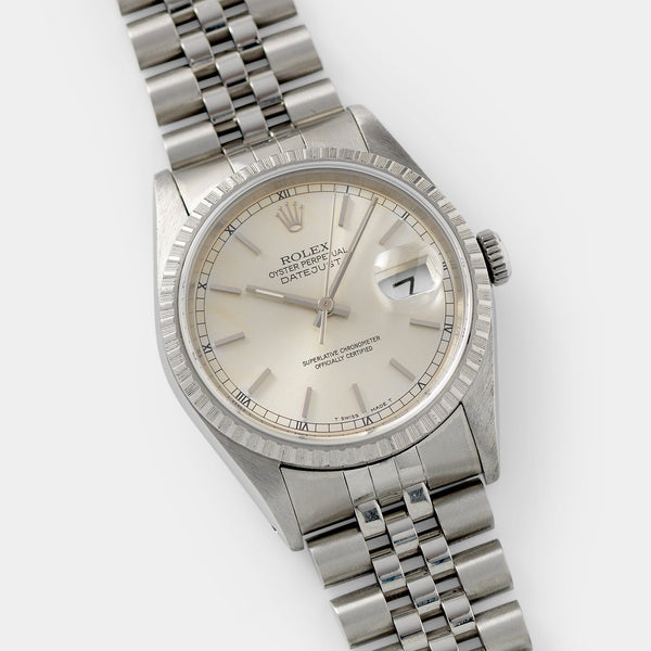 Rolex Datejust Silver Soleil Dial 16220  36mm steel case