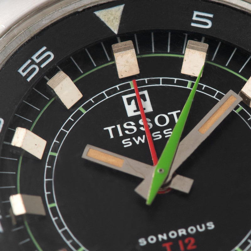 Tissot Sonorous Compressor Alarm Watch T12 4051 Green seconds and red alarm hands