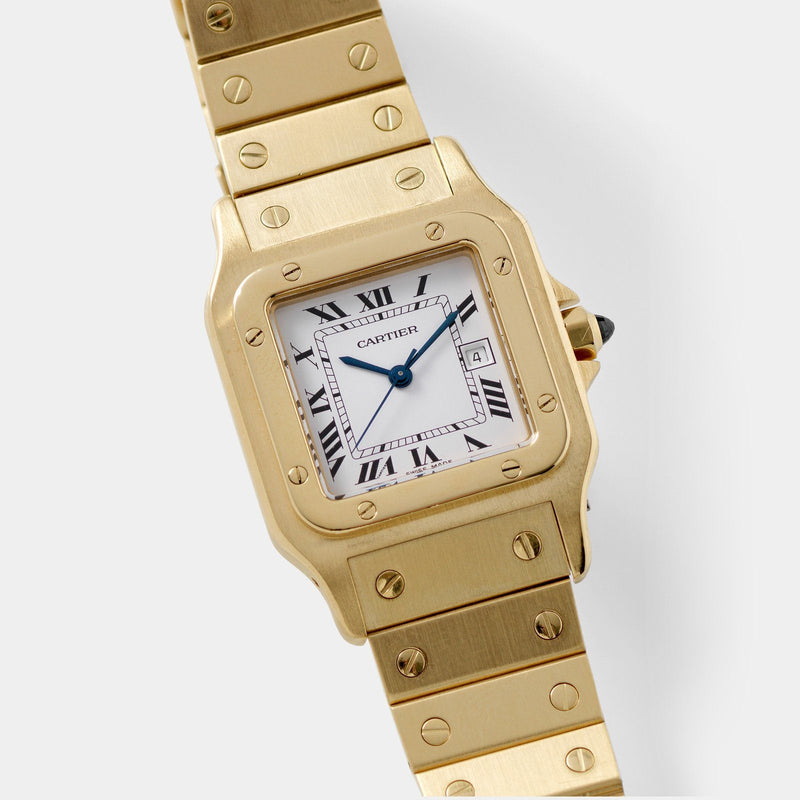 Cartier Santos 18kt Yellow Gold Box and Papers with White dial with black Roman numerals