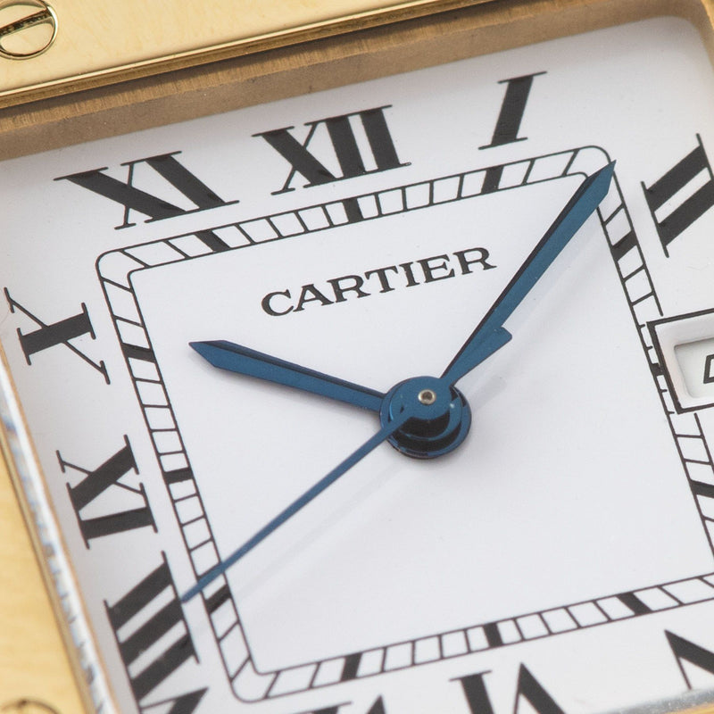 Cartier Santos 18kt Yellow Gold Box and Papers with blued steel hands