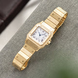 Cartier Santos 18kt Yellow Gold Box and Papers with Semi-integrated Cartier bracelet