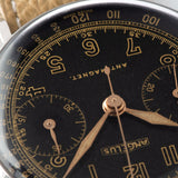 Angelus Steel Chronograph Square Pusher Watch  Black dial with gilt printing